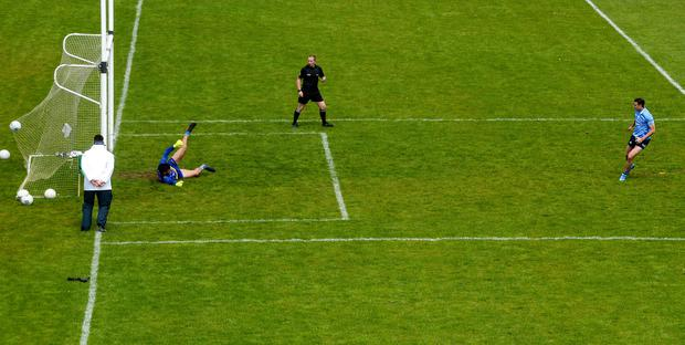 Cormac Costello nets a penalty in Dublin's win over Roscommon. Photo by Stephen McCarthy/Sportsfile