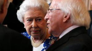 Queen Elizabeth and Ireland's President Michael D Higgins attend a Northern Ireland-themed reception at Windsor Castle, during the first State visit to the UK by an Irish President. Luke MacGregor/PA Wire