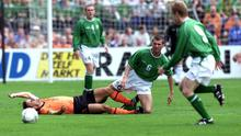 Roy Keane after a challenge with Marc Overmars in 2001at Lansdowne Road