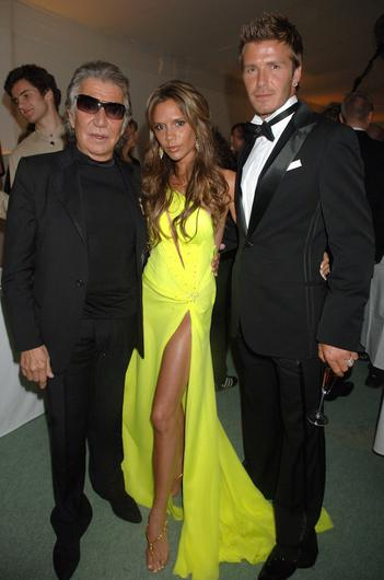 Mandatory Credit: Photo by Richard Young/REX (588149ju) Roberto Cavalli with Victoria and David Beckham FULL LENGTH AND FABULOUS', DAVID AND VICTORIA BECKHAM PRE WORLD CUP PARTY, ROWNEYBURY HOUSE, HERTFORDSHIRE, BRITAIN - 21 MAY 2006