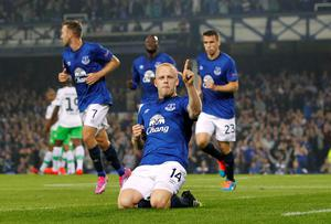 Everton's Steven Naismith celebrates scoring his sides first goal of the game during the UEFA Europa League Group H match against Wolfsburg. Photo credit: Peter Byrne/PA Wire.