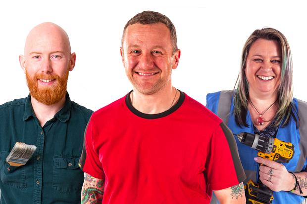 PJ with DIY experts Jennifer Byrne and Jimmy Englezos on RTÉ show The Big DIY Challenge