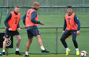 Republic of Ireland's David McGoldrick, James McClean, left, and and Shane Long, right, during squad training ahead of their UEFA EURO 2016 Championship Qualifer, Group D, match against Scotland on Friday (David Maher / SPORTSFILE)