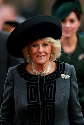 KING'S LYNN, ENGLAND - DECEMBER 25:  Camilla, Duchess of Cornwall attends a Christmas Day church service at Sandringham on December 25, 2015 in King's Lynn, England.  (Photo by Chris Jackson/Getty Images)