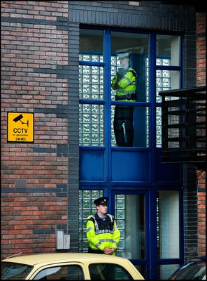Gardai preserves the scene at the Riverside apartment at Poddle Park in Kimmage where the young child was stabbed to death. Pic Steve Humphreys