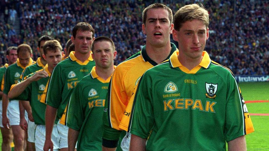 Trevor Giles captains Meath before the 2001 All-Ireland final. Photo: Sportsfile