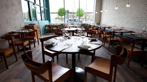 The relaxed interior of OX restaurant