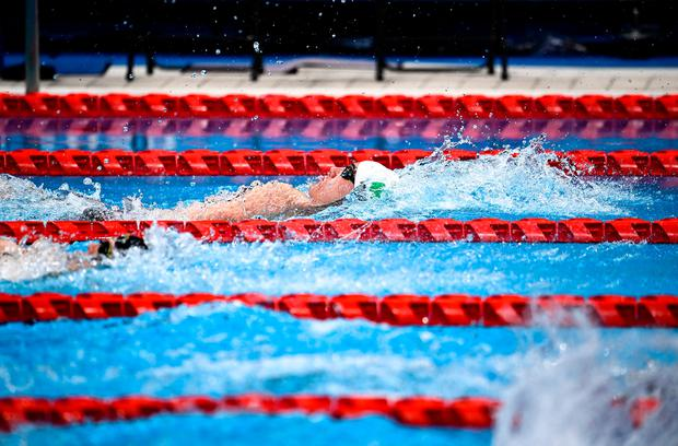 Barry McClements of Ireland competes in the Men's S7 100 metre backstroke final at the Tokyo Aquatic Centre on day six during the Tokyo 2020 Paralympic Games. Photo by David Fitzgerald/Sportsfile