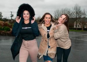 Babestation's Priya Young, Alexa Brooke, Vicky Narni on arrival in Westport, Co.Mayo to apologise for phone mix-up. Pic: Michael Mc laughlin