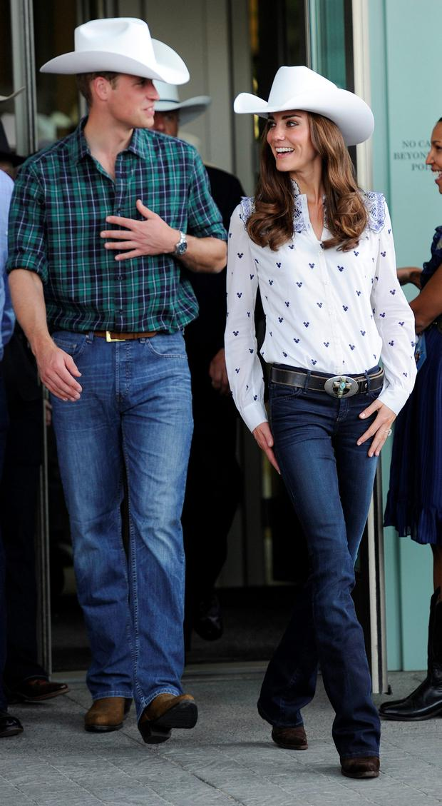 Britain's Prince William and his wife Catherine, Duchess of Cambridge, depart the Calgary Stampede in Calgary, Alberta, July 7, 2011
