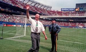 Jack Charlton waving to the crowd at the World Cup in 1994. Photo: David Maher/Sportsfile