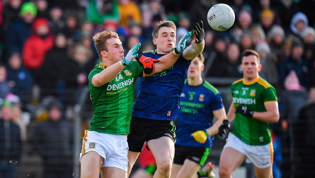 Shane Walsh of Meath in action against Patrick Durcan of Mayo. Photo by Seb Daly/Sportsfile
