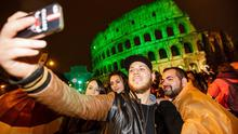 Selfies for St. Patrick's Day: Rome's Colosseum will go green as part of the Global Greening initiative for St. Patrick's Day.