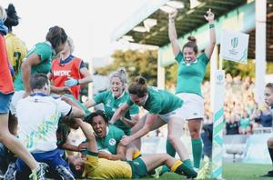 Sophie Spence celebrates a try against Australia at the 2017 Women's Rugby World Cup