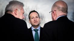 Searching for answers: Taoiseach Leo Varadkar visits Drogheda yesterday. Photo: Mark Condren