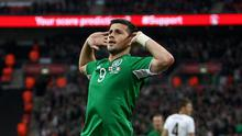 Republic of Ireland's Shane Long celebrates scoring the opening goal of the game during the International Friendly match at Wembley Stadium, London in May 2013