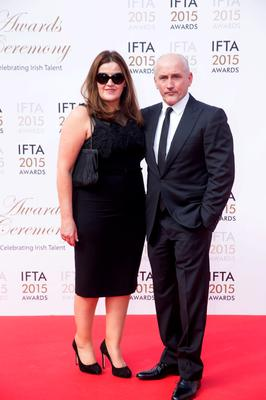 24/5/15 Barry McGuigan and wife Sandra pictured on the red carpet at the IFTA Awards at the Mansion House in Dublin. Picture: Arthur Carron