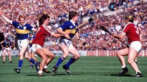 Nicky English is tackled by Galway's Gerry McInerney and Conor Hayes in the All Ireland Hurling Final