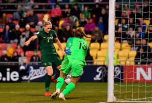 Diane Caldwell scores the winner for the Republic of Ireland against Greece. Photo: Seb Daly/Sportsfile