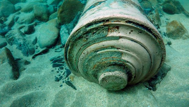 A cannon on the seabed
