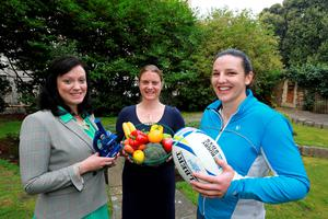 Ireland women's rugby team member, Dr Paula Fitzpatrick (right) with Dr. Muireann Cullen, Manager, NHF (centre) and Dr Deirdre Harrington, University of Leicester (left)