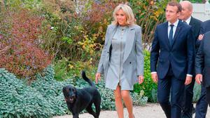 French President Emmanuel Macron (R) and his wife Brigitte Macron (C) arrive with their dog called Nemo to pose for a family picture with French chefs during an event at the Elysee Palace in Paris, on September 27, 2017