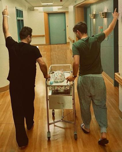 Mark Feehily and Cailean O'Neill with their newborn daughter Layla Photo: Mark Feehily/Instagram