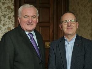 Bertie Ahern with RTE's Garry Mac Donncha