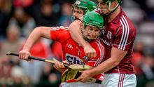 Galway's Greg Lally tangles with Cork's Seamus Harnedy during their Division 1A clash in Pearse Stadium, Galway