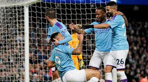 Manchester City's Gabriel Jesus celebrates scoring their third goal with Raheem Sterling, Riyad Mahrez and Bernardo Silva in the Premier League win over Leicester City at the Etihad Stadium, Manchester. Photo: Reuters/Andrew Yates