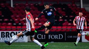 Jordan Flores of Dundalk shoots to score his side's second goal during the SSE Airtricity League Premier Division match against Derry City at the Ryan McBride Brandywell Stadium. Photo by Harry Murphy/Sportsfile