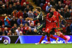 Patrick Bamford is brought down in the box by Liverpool defender Kolo Toure to give Middlesbrough a penalty late in extra-time of their Capital One Cup clash at Anfield. Photo: Alex Livesey/Getty Images