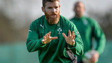 Ireland's Gordon D'Arcy during squad training ahead of their side's RBS Six Nations Rugby Championship match against Wales on Saturday.