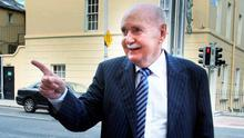 Michael Fingleton arrives at the Banking Inquiry in Dublin yesterday. Photo: Tom Burke
