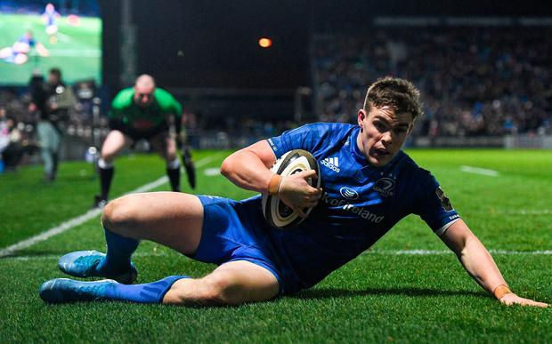 Leinster's Garry Ringrose scores his side's eighth try during the Guinness Pro14 Round 10 win over Connacht at the RDS Arena in Dublin. Photo: Ramsey Cardy/Sportsfile