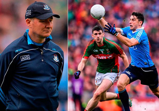 Dublin manager Jim Gavin and (right) Bernard Brogan in action during the drawn match