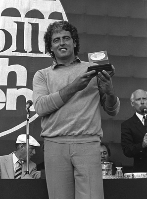 VICTORIOUS: John O'Leary with his trophy after winning the Carroll's Irish Open in the summer of 1982