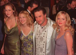 """(L to R) Leelee Sobieski, Drew Barrymore, David Arquette and Marley Shelton attend the Premiere of their new film """" Never Been Kissed"""" in 1999"""