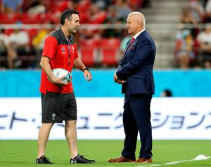 Wales attack coach Stephen Jones (left) and head coach Warren Gatland before the 2019 Rugby World Cup Pool D match at City of Toyota Stadium, Japan. David Davies/PA Wire.