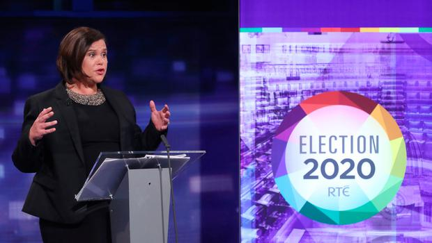 Sinn Fein President Mary Lou McDonald during the final TV leaders' debate at the RTE studios in Donnybrook, Dublin. Photo: Niall Carson/PA Wire