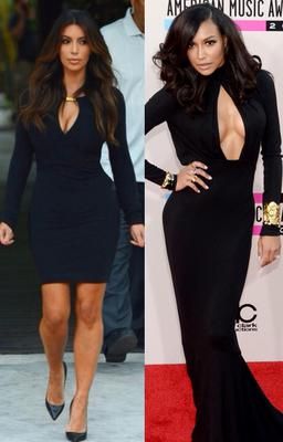 On the left, we see Kim K's keyhole dress hugging each curve and on the right, Naya took it to new levels at the American Music Awards