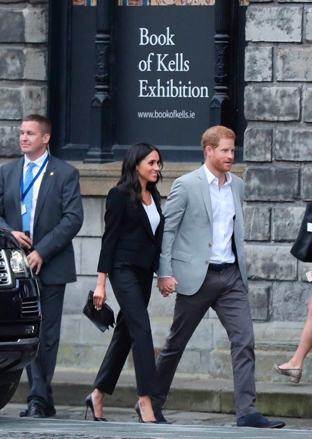 Britain's Prince Harry and Meghan, the Duchess of Sussex arrive at the Book of Kells Exhibition at Trinity College during their visit to Dublin, Ireland, July 11, 2018. Gareth Fuller/Pool via REUTERS