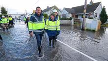 Taoiseach Leo Varadkar and Kevin Boxer Moran visit  flood prevention measures in Athlone, Co. Westmeath. Photo: Niall Carson/PA Wire