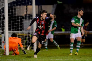 Adam Evans, Bohemians, celebrates scoring his side's first goal of the game. SSE Airtricity League Premier Division, Bray Wanderers v Bohemians, Carlisle Grounds, Bray, Co. Wicklow (Cody Glenn / SPORTSFILE)