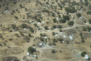 An IDP camp in Twic County of South Sudan seen from the air. Photo: Mark Condren