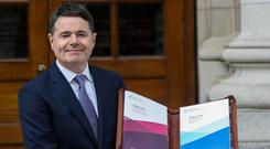 Straight face: Finance Minister Paschal Donohoe presents Budget 2020 at Government Buildings in Dublin. Photo: Lorraine O'Sullivan/Reuters