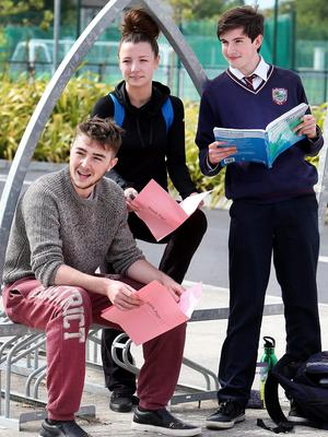 Aaron Gowen, Melissa Delaney and Thomas Delaney from Donabate Community College, Co Dublin, after their accountancy exam yesterday