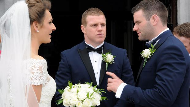 12/6/2015  Claire Mulcahy, Sean Cronin and best man Fergus McFadden. St. Josephs Catholic Church, Castleconnell, Co. Limerick. Pic: Gareth Williams / Press 22