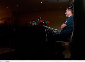 16 November 2014; Republic of Ireland assistant manager Roy Keane during a press conference ahead of their International Friendly match against USA on Tuesday in the Aviva Stadium. Republic of Ireland Press Conference, Gannon Park, Malahide, Co. Dublin. Picture credit: David Maher / SPORTSFILE