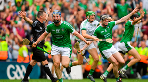 19 August 2018; Richie McCarthy of Limerick celebrates at the final whistle after the GAA Hurling All-Ireland Senior Championship Final match between Galway and Limerick at Croke Park in Dublin.  Photo by Piaras Ó Mídheach/Sportsfile